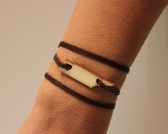 Tennessee States of Love Leather Wrap Bracelet TN state jewelry