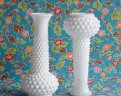 One Milk Glass Vintage Vase, Hob Nail White Polka Dot, Wedding Centerpiece