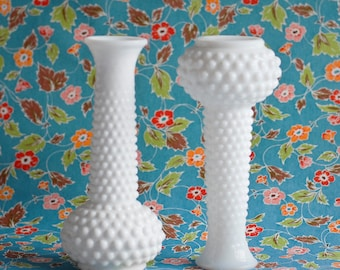 One Milk Glass Vintage Vase, Hob Nail White Polka Dot, Wedding Centerpiece