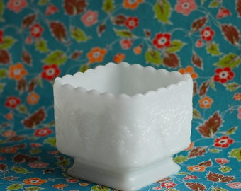 Milk Glass Vintage Pedestal Square Bowl Vase with Grape Pattern, Jewelry or Candy Holder, Planter, Wedding