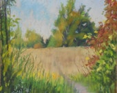 """Original Pastel Landscape Painting, fall color, country scene, wildflowers, hiking trail, farmers field """"September Stroll"""" by Colette Savage"""