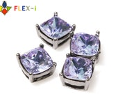 FLEX-i, Gunmetal Square Rhinestone Setting, Prong Setting, A-Class Tanzanite Rhinestone Crystal 10mm, Pkg of 1 pc, X0J8.GM.RH14.P01