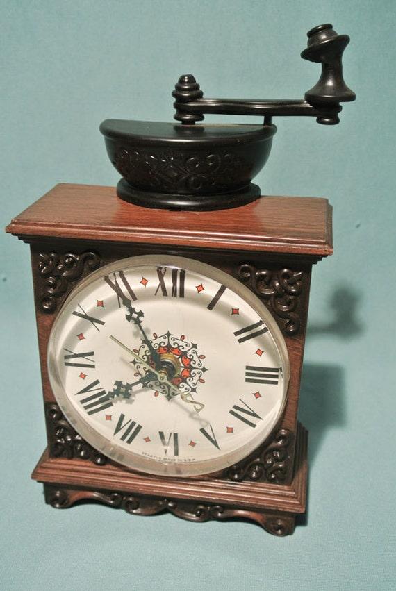 Vintage Spartus Wall Clock Coffee Grinder by MidCenturyShoppe