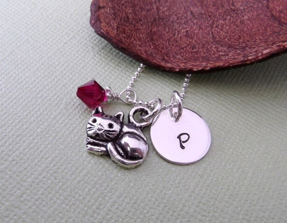 Cat Necklace with Initial Charm and Birthstone- Cat Charm Necklace- Cat Lover's Necklace- Children's Jewelry