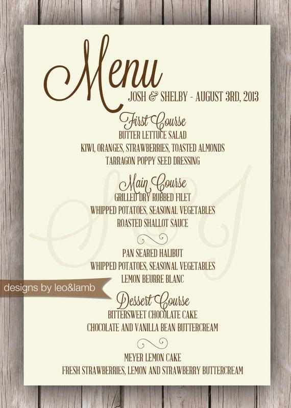 Items similar to wedding or rehearsal dinner menu printable file