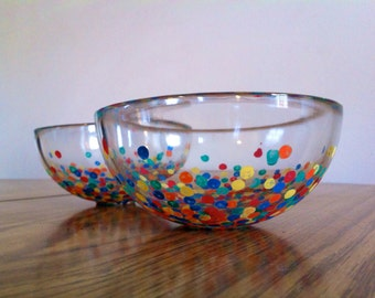 Hand Painted Rainbow Serving Bowls - Set of 2