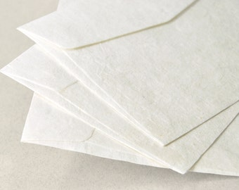 "A7 (5x7 inch) Mulberry Paper Envelopes - Off-White (Set of 10 or 20) - The actual size is 5""x7 1/4"""