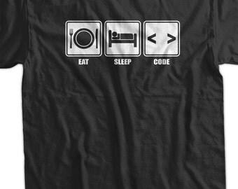 Funny Computer Geek T-Shirt Eat Sleep Code T-Shirt V1 Computer Code T-Shirt Screen Printed T-Shirt  Mens Womens Ladies Youth Kids Geek Funny