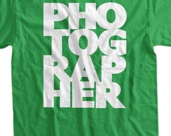 Photographer photography camera Screen Printed T-Shirt Tee Shirt T Shirt Mens Ladies Womens Youth Kids Funny Geek