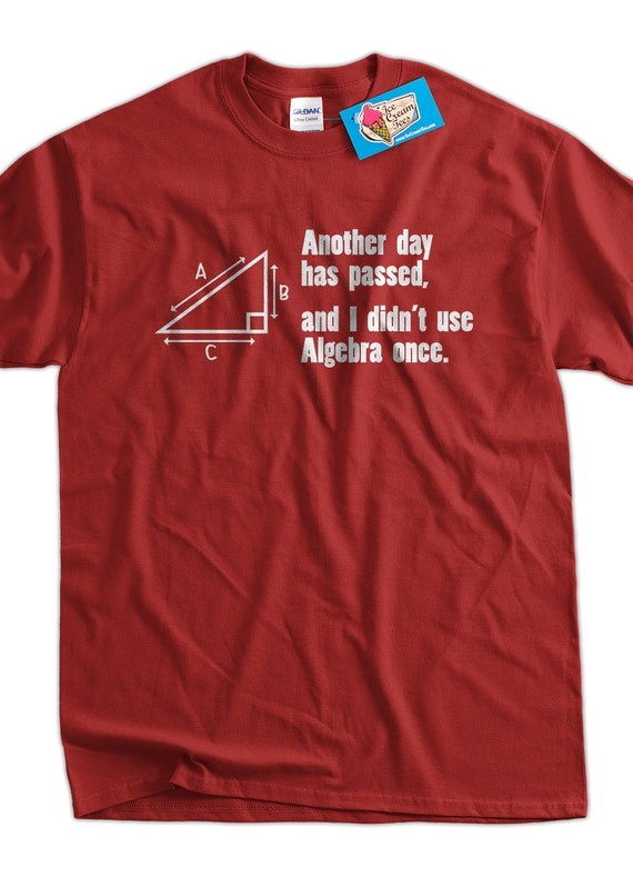 Funny Math T-Shirt Another Day Passed and I Didn't Use Algebra T-Shirt Screen Printed T-Shirt Tee Shirt T Shirt Mens Ladies Womens
