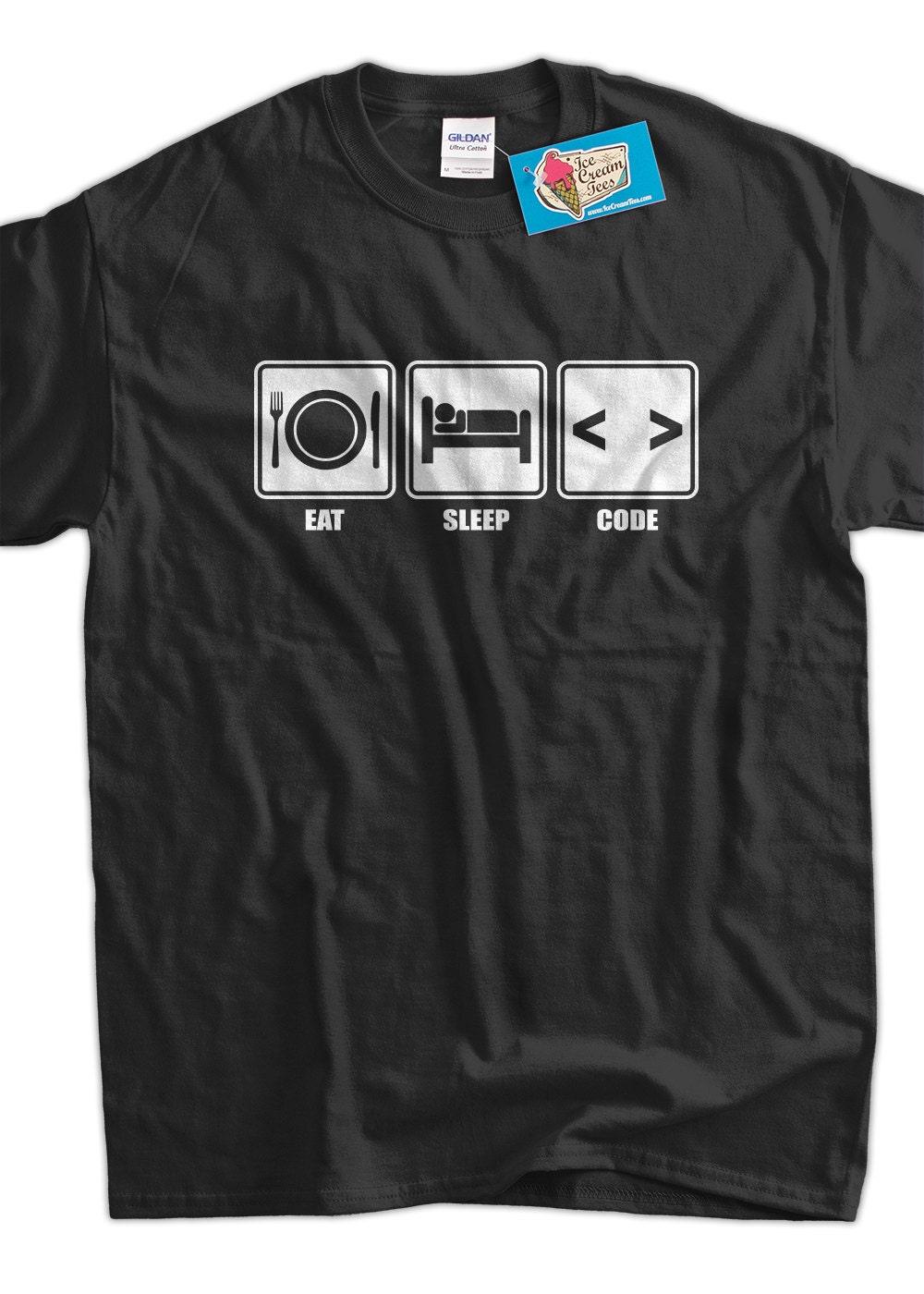 funny computer geek t shirt eat sleep code t shirt v1 computer. Black Bedroom Furniture Sets. Home Design Ideas