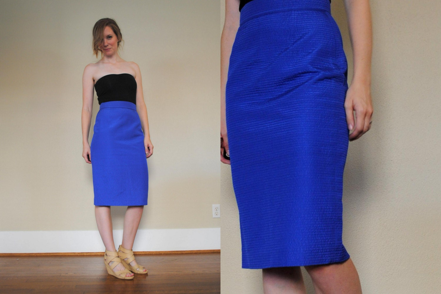 vintage royal blue pencil skirt textured high waist skirt