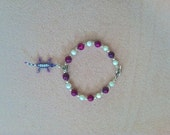 """FUN LOVE -  Stunning """"Lucky Lizard"""" 7.5 in. Bracelet w/ White Shell, Pink and Purple Swirl Beads, & Silver Balls - Handmade to Save Lives"""