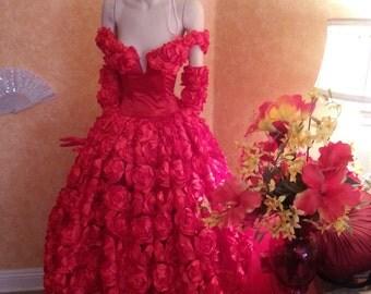 Scarlet Rose Goddess Middle Eastern Inspired Off The Shoulder Bridal Wedding Formal Ball Gown