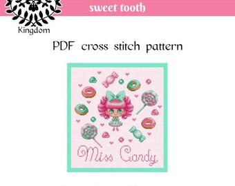 Miss Candy - Cross Stitch pattern- PDF