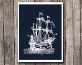 Nautical art print - Vintage ship - white silhouette - dark Navy blue - Boys room - gift for men - sailor art - beach house - maritime theme - EEartstudio