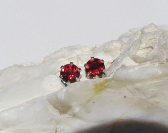 Sterling Silver Post Earrings - Natural Red Garnet Stud Earrings - 5mm Natural Red Garnet Stones on Sterling Silver Posts