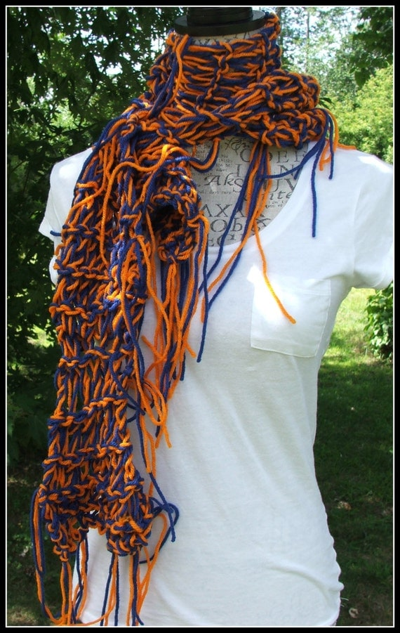 Broncos inspired scarf. Colorado. navy blue and Orange. Idaho. Disheveled Scarf. Robbinsdale. Made by Bead Gs on ETSY.