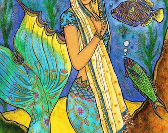 "Beautiful Lovely East Indian Mermaid Fantasy Coral Reef Fish 10""x8"" ART PRINT of original painting by K.McCants"