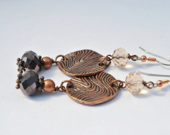 Bronze, champagne crystal and copper Earrings with carved copper circle connectors