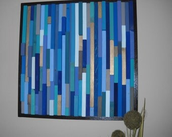 Modern wall art wood sculpture blues
