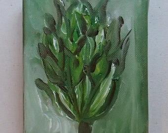Magnolia Seed Pod, Original ABSTRACT painting, Oil on Canvas, Green, Magnolia Painting, Magnolia Pod, Modern Art
