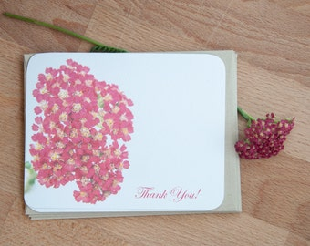 Pink Flowers Personalized Card Set, Personalized Stationery Set (12), Eco Friendly Gift for Mom