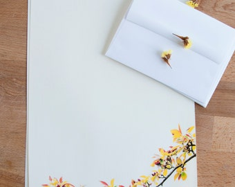 Letter Writing Paper - Fall Tree Branch and Leaves - Letter Paper Set