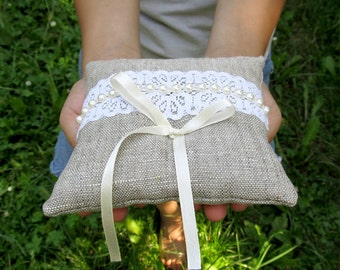 Ring Pillow Burlap with Cream Cotton Lace and Beads