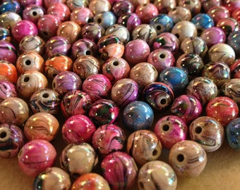 Marble Swirl AB Paint Beads - 20pcs - 12mm Assorted Color
