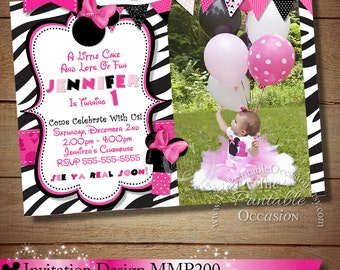 Minnie Mouse Invitation, Zebra Minnie Mouse Invitation, Printable, DIY, Birthday Party Invitation