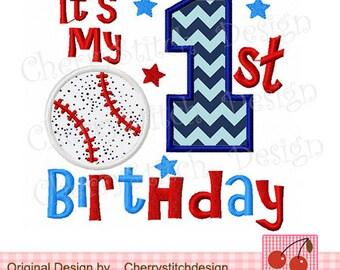 My 1st Birthday Applique Baseball Birthday Digital