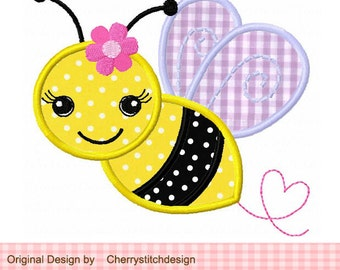 Bumble Bee with flower Machine Embroidery Applique Design - approximate 4x4 5x5 6x6 inch