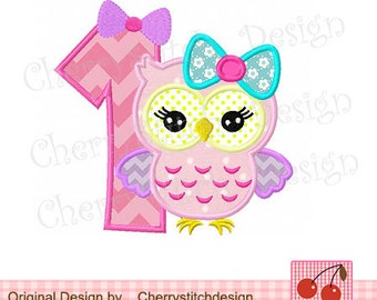 Owl number 1 Birthday machine embroidery applique-4x4 5x5 6x6""