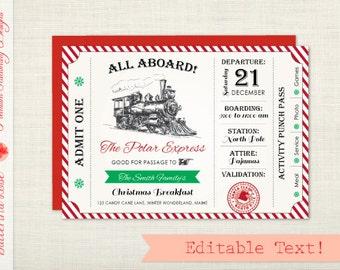 Polar Express Invitation, Christmas Party Invitation, Polar Express Party, Polar Express Ticket, Holiday Party Invitation, Invite