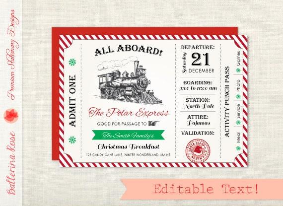 ... Polar Express Party, Polar Express Ticket, Holiday Party Invitation