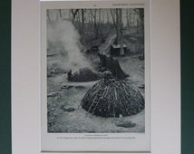 1954 Vintage Print Of Charcoal Burning In Kent - Traditional Crafts - Woodland - Wood Pile - Countryside Industry - Rural - Picture - Rustic