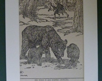 1935 Vintage Print Of A Children Running Away From Grizzly Bears - Brother & Sister - Story Book Illustration - Art - Adventure - Antique