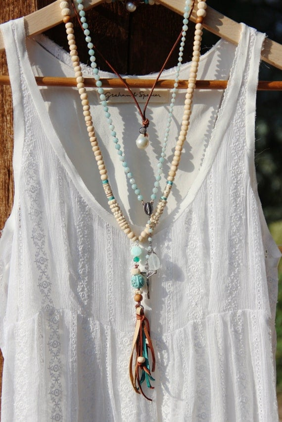 Long Bone Bead Tassel Necklace Creamy White Tribal Bone