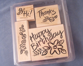 Rubber Stamp Set - Bold Blossoms - Birthday - Thank you - Hi - Flowers - Butterfly - Craft Supplies - Handmade Cards