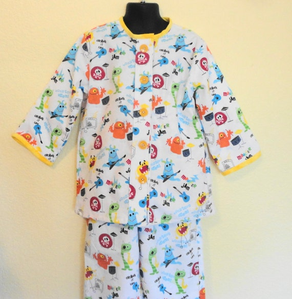 Monster Print Pajamas, Boys Pajamas, Winter Pajamas,  Flannel PJs, Boys PJs, Monster Jam Pjs