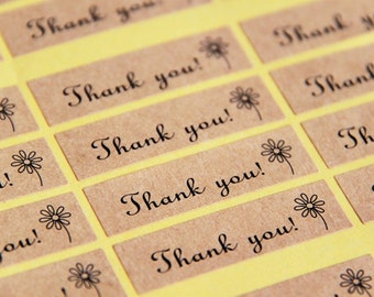 72 Rectangle Thank You Brown Paper Sticker Labels. 4.5cm x 1.3cm. Brown Kraft Style. Retro. Gift Wrapping. Product Labelling Seals