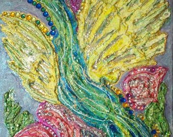 Feathers and Flowers mixed media painting