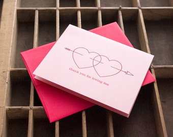 Thank you for Loving Me Letterpressed Valentine Anniversary Card in Red and Purple Ink on Pink Paper with Hearts  Printed in Cleveland Ohio