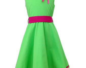 """Summer dress """"May 2"""" (size 104-134), Apple green / pink, cotton"""