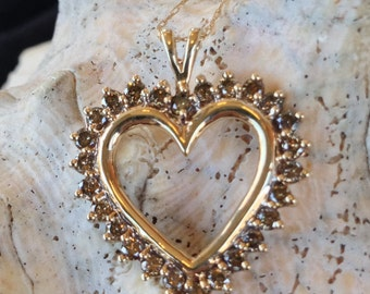 10K Gold Champagne Diamond 3/4 CTTW Heart Necklace (st - 718)