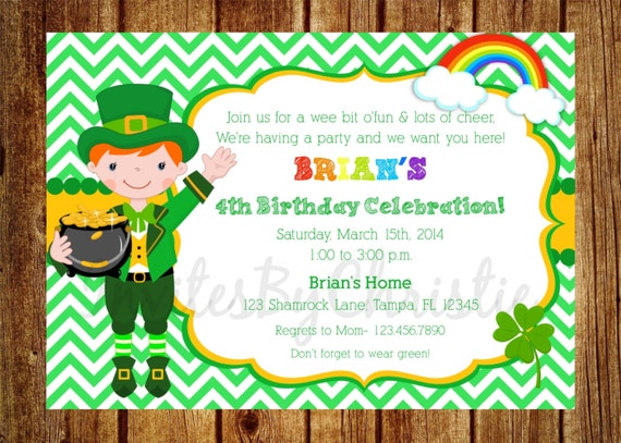 St. Patrick's Day Birthday Invitation