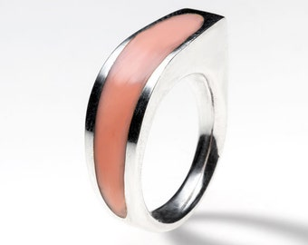 Sterling silver ring with pale coral pink resin, handmade. Modern jewelry designe.