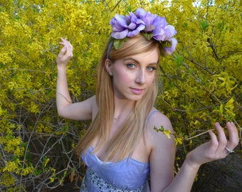 Lilac Purple Oversized Floral Headcrown/Headband with Braid