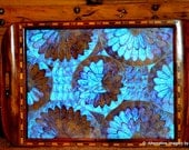 Blue Morpho Rainforest Butterfly Exotic Hardwood Marquetry Work Vintage Brazilian Dresser Tray offered by TemplesTreasureTrove